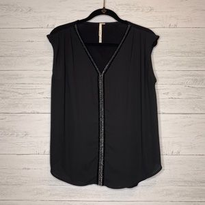BELLATRIX Sleeveless Blouse Black With Beading